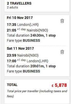 Two last-minute business returns flights to Nairobi