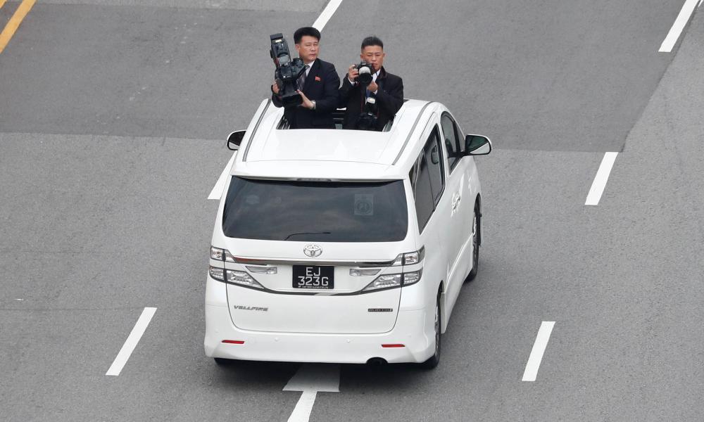 North Korean media travel with the motorcade