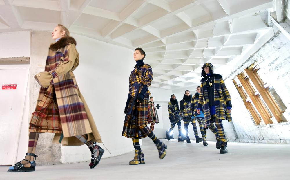 Models on the catwalk Sacai show in Paris.