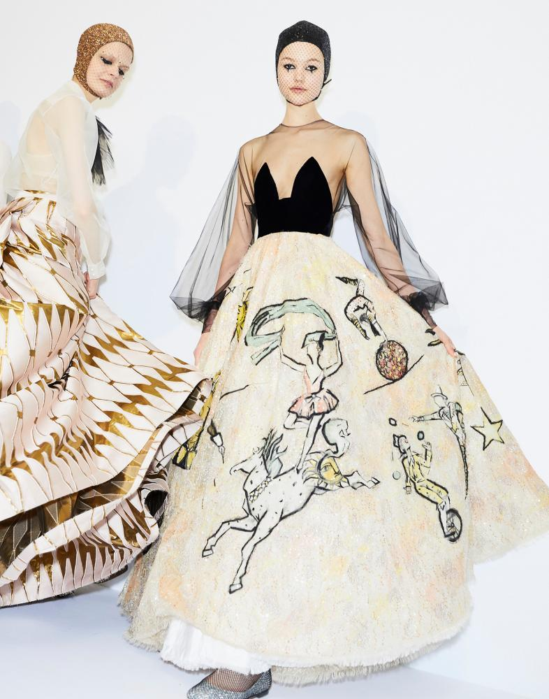 Maria Grazia Chiuri's signature embellished floor-length gowns at Christian Dior