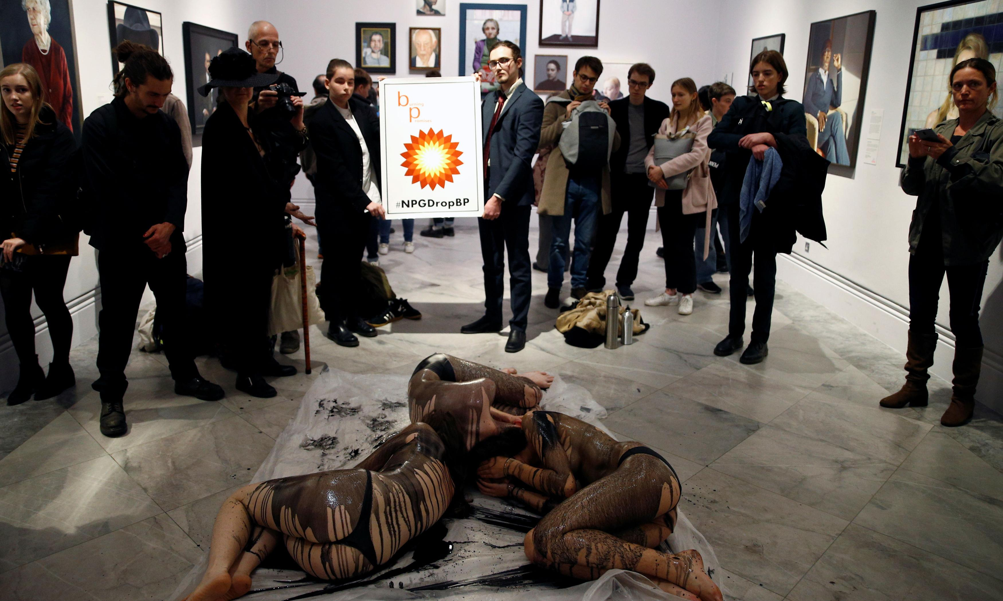 Semi-naked activists protest against National Portrait Gallery's links with BP