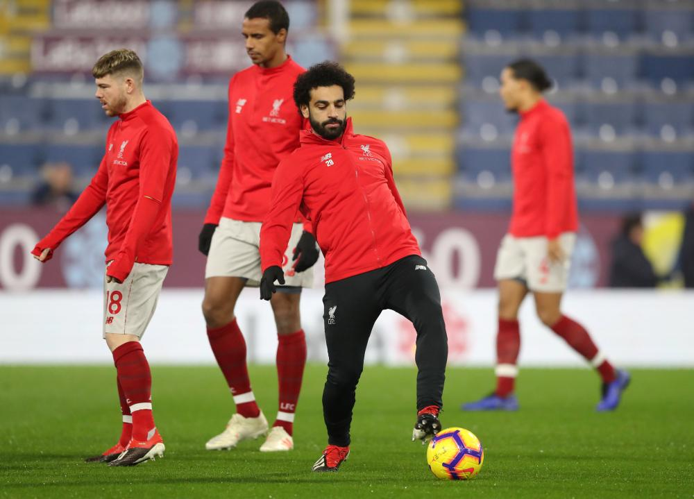 Mohamed Salah is on the Liverpool bench.