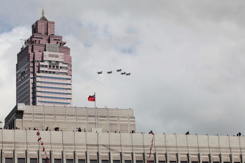 Jets fly over Taipei during Taiwan's national day celebrations.