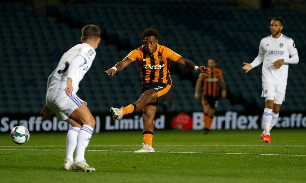 Mallik Wilks of Hull City scores his team's first goal.