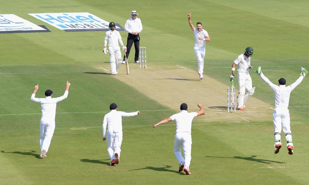 James Anderson celebrates bowling Shan Masood.