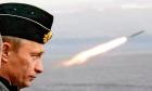 Russian President Vladimir Putin watches the launch of a missile during naval exercises in Russia's Arctic North on board the nuclear missile cruiser Pyotr Veliky (Peter the Great).