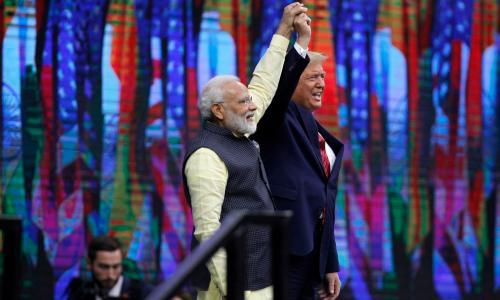 Indian Prime Minister Narendra Modi and US President Donald J. Trump speak to a crowd of over fifty thousand at the 'Howdy Modi' community summit at NRG Stadium in Houston, Texas, USA, 22 September 2019. The event was hosted by  the Texas India Forum. EPA/PATRIC SCHNEIDER