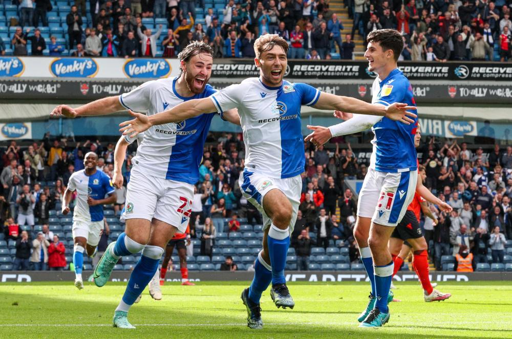 Blackburn Rovers' Harry Pickering celebrates scoring their second goal.