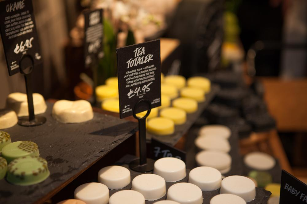 Products on display at the Lush Naked Store, Manchester.