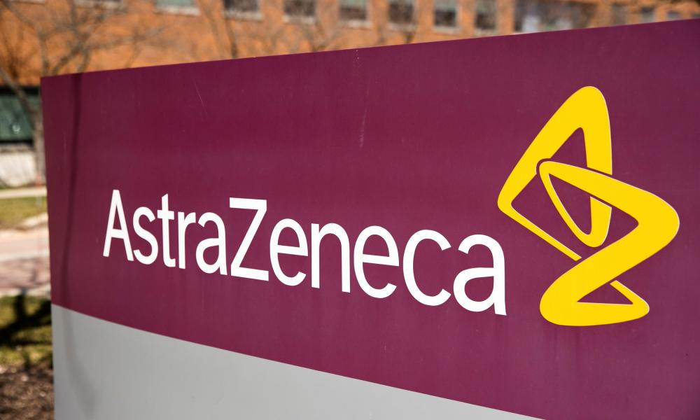 The logo for AstraZeneca is seen outside its North America headquarters.