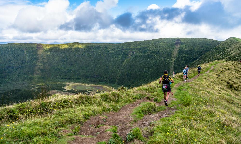 Azores Trail Run. Caldeira in the center of island of Faial