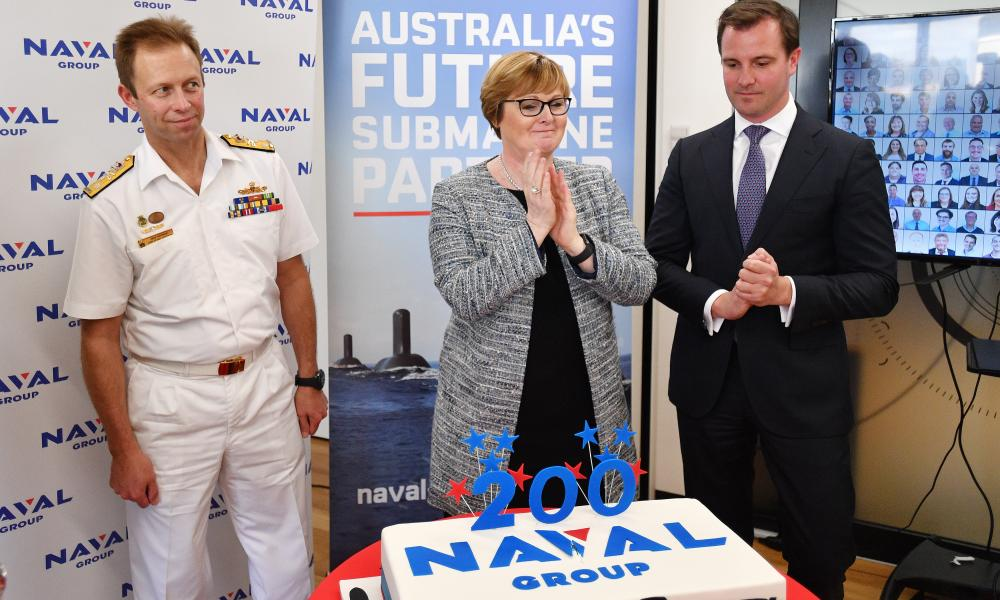 Former defence minister Linda Reynolds (middle) during a visit at French company Naval Group in Adelaide in February 2020.
