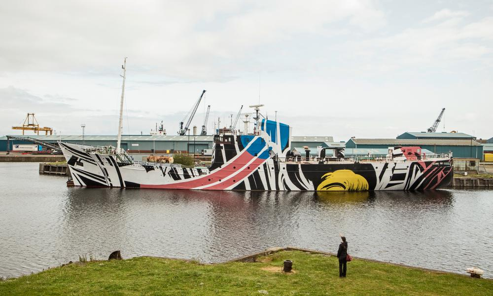 The 'post-pop camouflage of Ciara Phillips's dazzle ship.