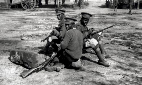 Three soldiers from the British West Indies regiment in camp on the Albert-Amiens Rd 1916