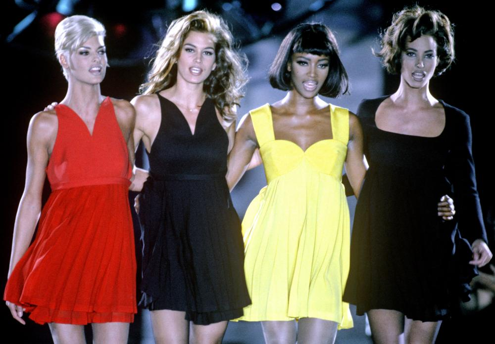 Supermodels (from left) Linda Evangelista, Cindy Crawford, Naomi Campbell and Christy Turlington in 1991