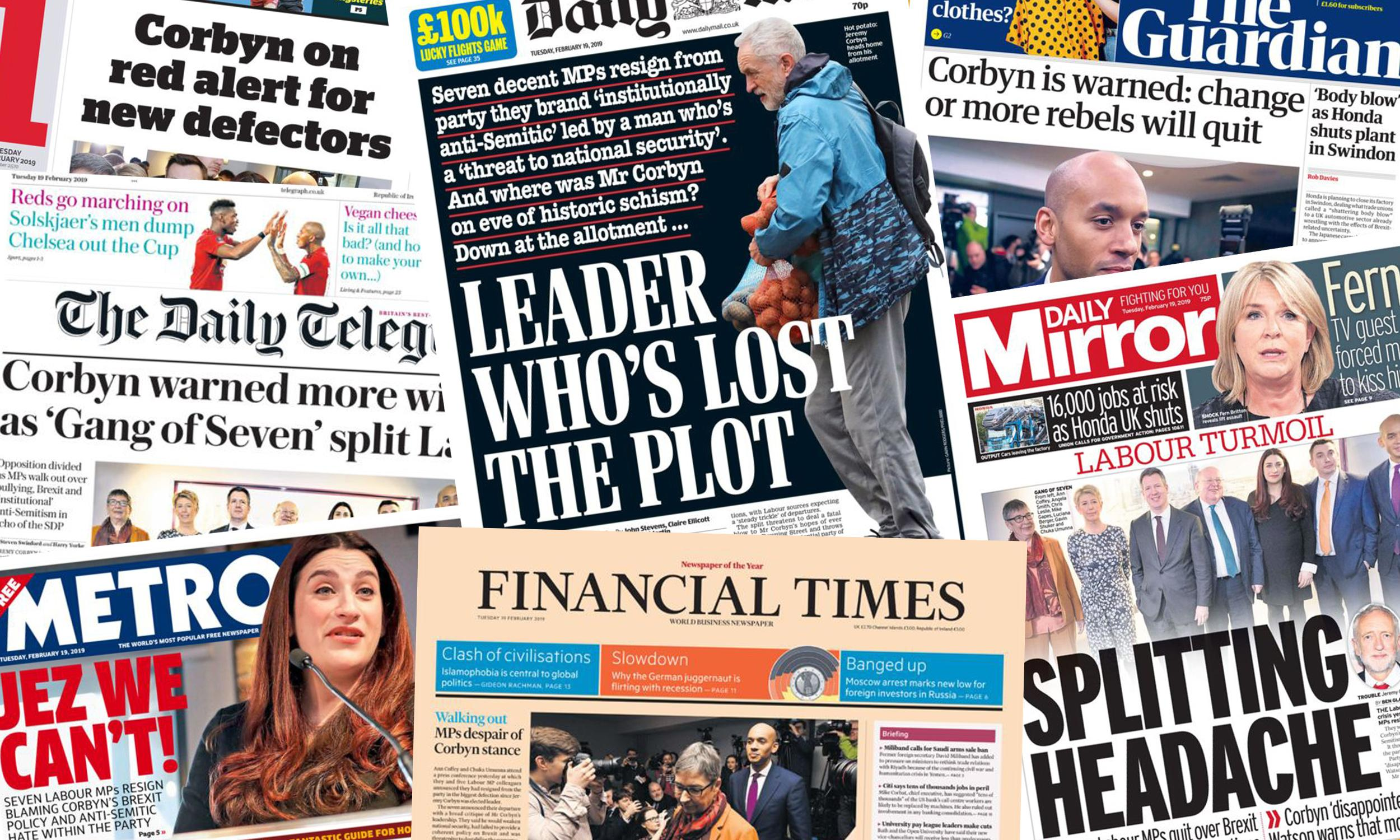 'Splitting headache': what the papers say about Labour party's turmoil