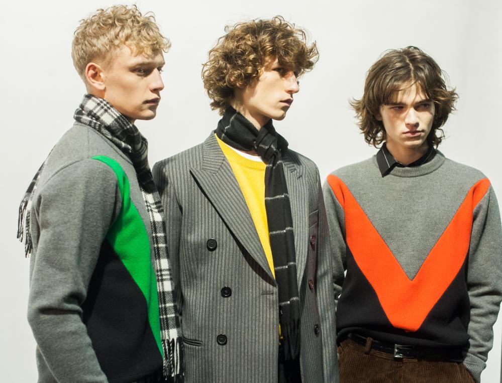 Models pose backstage prior the AMI - Alexandre Mattiussi show in Paris