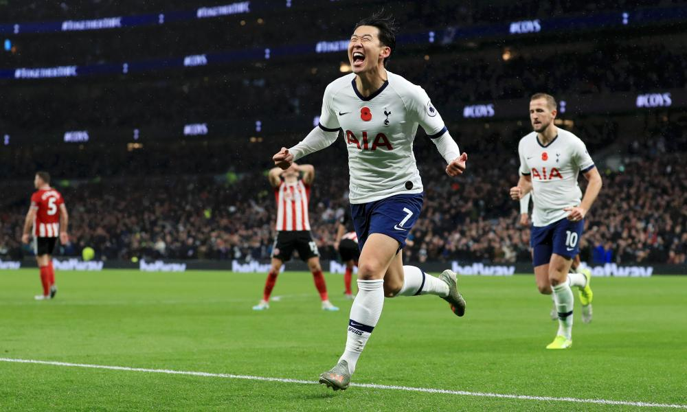 Son Heung-min celebrates after he scores his sides first goal.