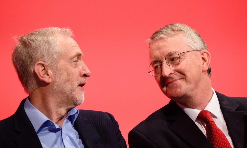 Jeremy Corbyn (left) and Hilary Benn