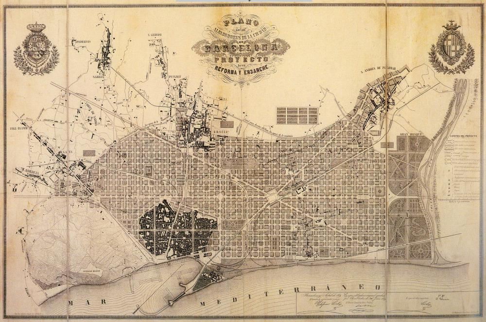 Plan of the Eixample development in Barcelona (1859), by Ildefons Cerdà.