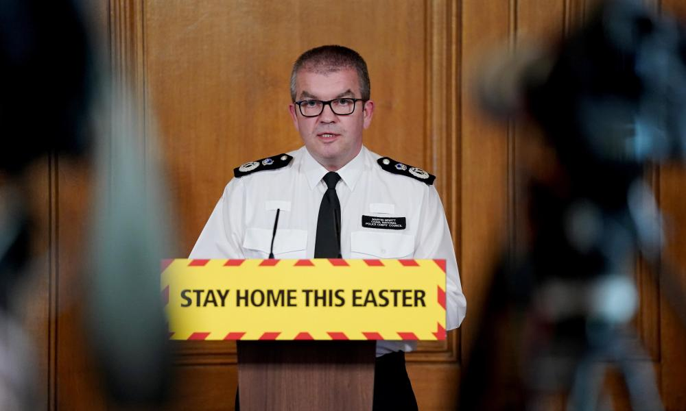 Martin Hewitt at a No 10 press conference in April.