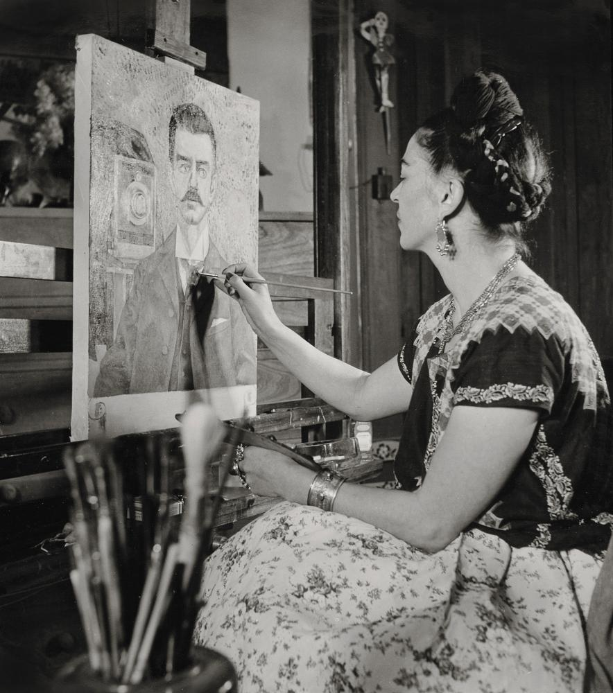 Frida Painting the Portrait of Her Father by Gisèle Freund, 1951