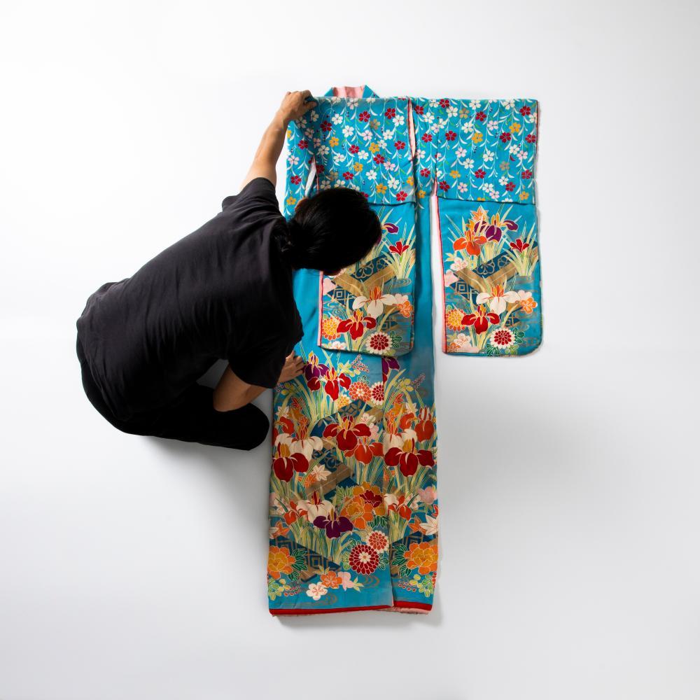 Authentic blue silk floral kimono. Akira Isogawa book, page 53
