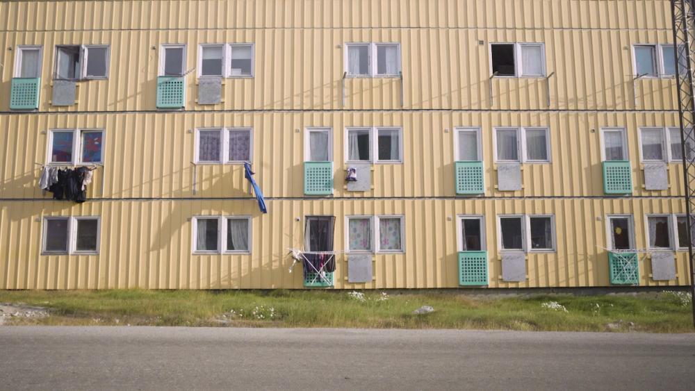 A housing block in Ilulissat, Greenland.
