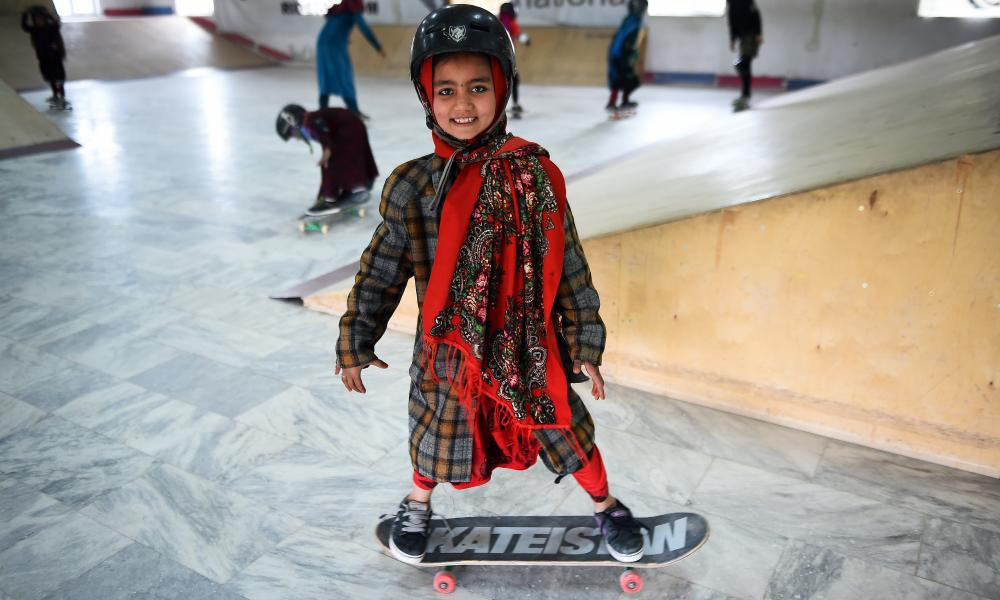 A happy customer at Skateistan's centre at Mazar-e-Sharif, Afghanistan.