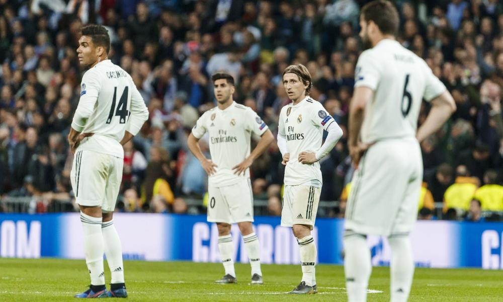 Luka Modric looks on during the 4-1 home defeat by Ajax that ended Real Madrid's 1,000-day reign as European champions.
