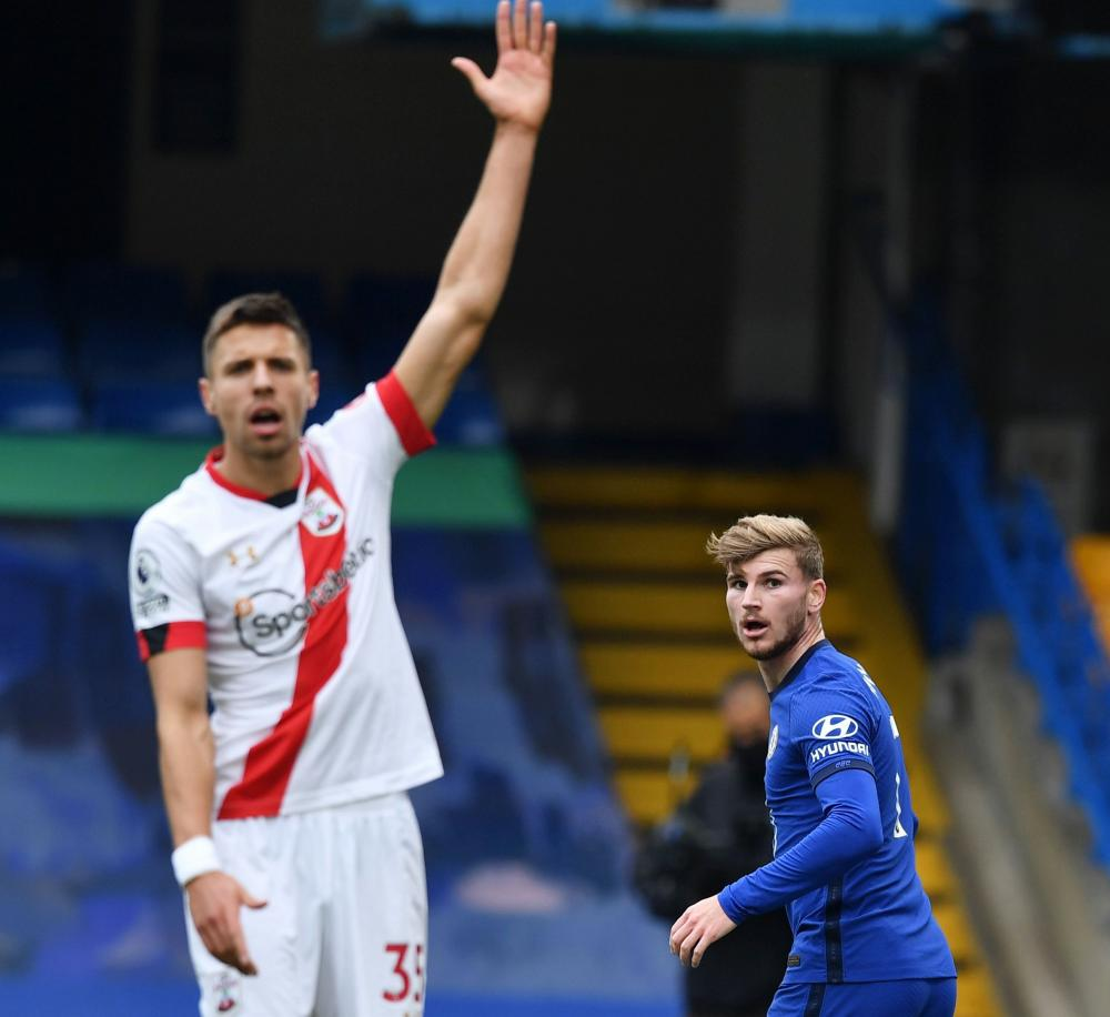 Werner after scoring a goal which is later disallowed upon VAR review