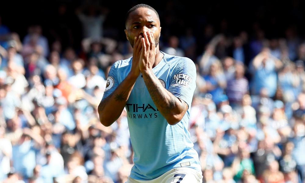 Manchester City's Raheem Sterling reacts after his shot was saved.