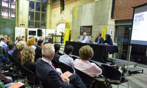 Guardian Live/Discuss debate in Manchester, 30 September 2015. Panel l-r Steve Davies, chair Philip Inman and Catriona Watson.