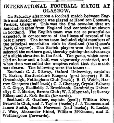 The Manchester Guardian's 124-word report (plus teams) from the first international, from 2 December 1872. On the same page, coverage of the Birmingham Cattle Show ran to almost 700 words.