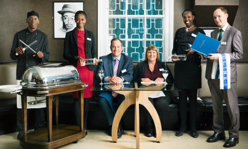 The team from The Clink, HMP Brixton, including, third from left, chief executive Chris Moore.