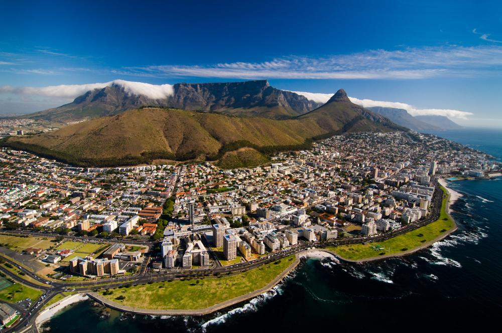 An aerial view of Table Mountain overlooking Cape Town.