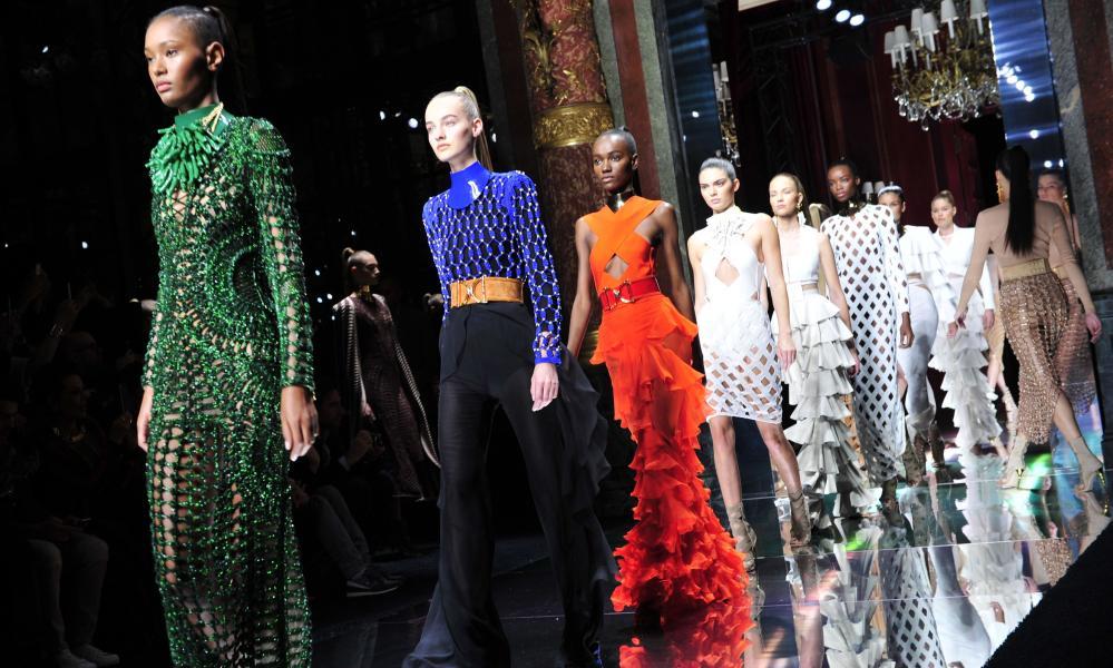 Balmain shows its spring/summer 2016 collection during Paris fashion week.