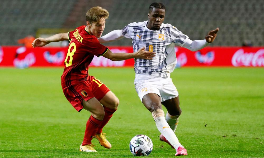 Wilfried Zaha playing for Ivory Coast in the 1-1 draw against Belgium