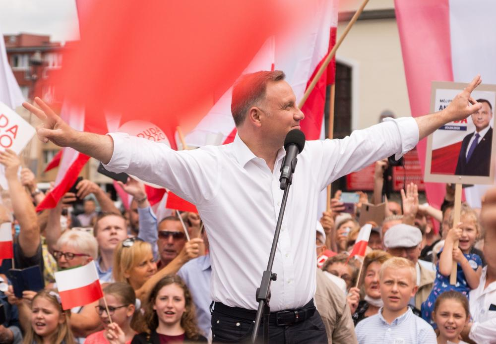 Current president Andrzej Duda meets with local residents in Stargard while touring before the second stage of presidential election.