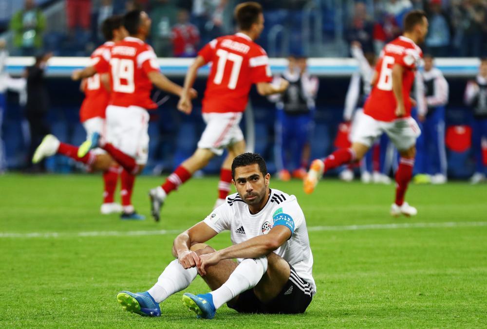 Fathy of Egypt looks dejected.