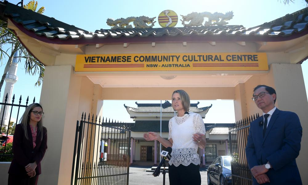Kristina Keneally speaks to the media at the Vietnamese Community Cultural Centre in Sydney
