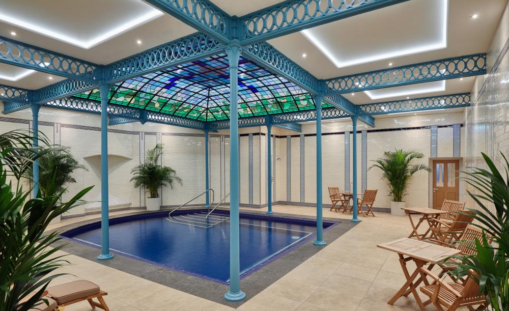 Buxton Crescent Hotel and Spa Thermal Pool. The spa's original thermal pool, surrounded by Victorian cast-iron pillars