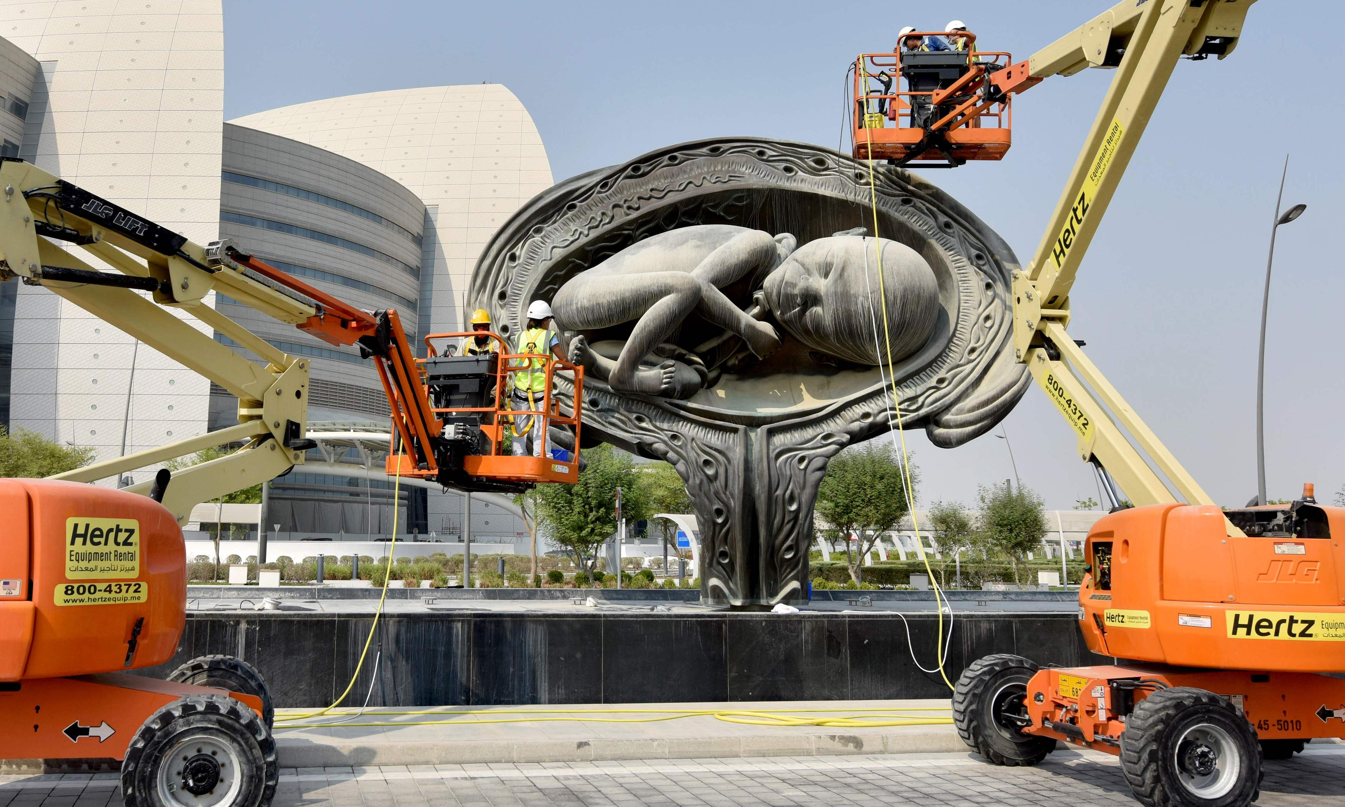 Damien Hirst delivers controversy with giant uterus sculptures at Qatar hospital