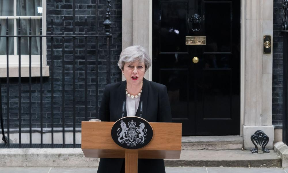 Theresa May speaking outside Number 10.