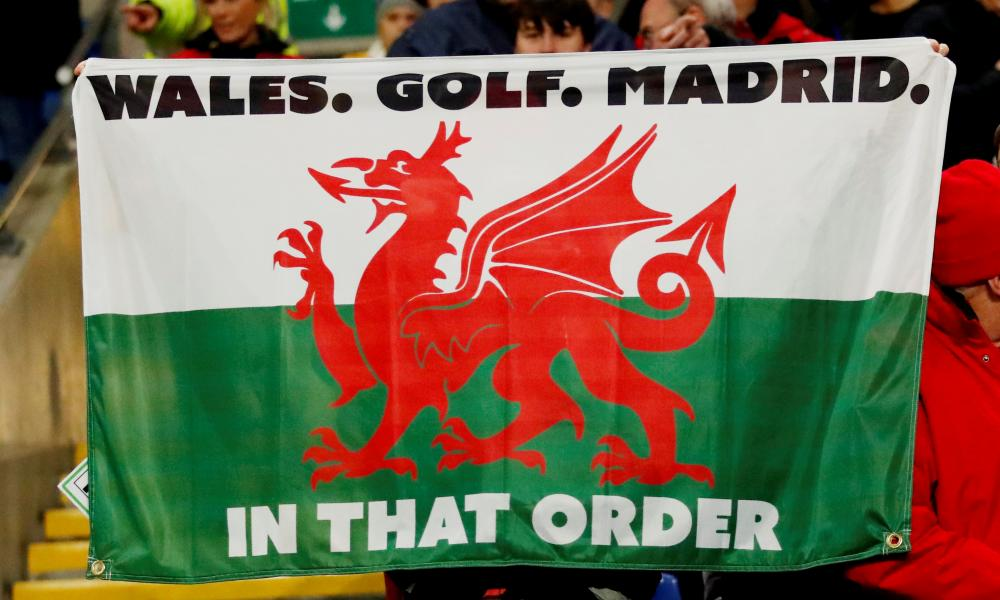 A Wales flag in the crowd. Gareth Bale later celebrated with it.