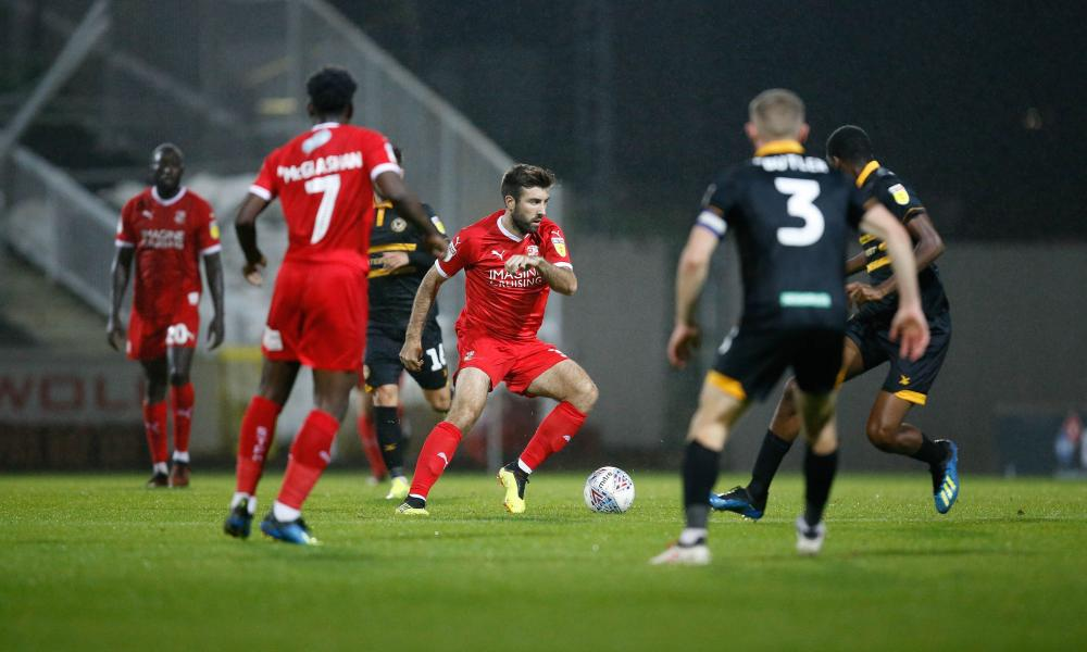 Swindon's Michael Doughty in action against Newport County