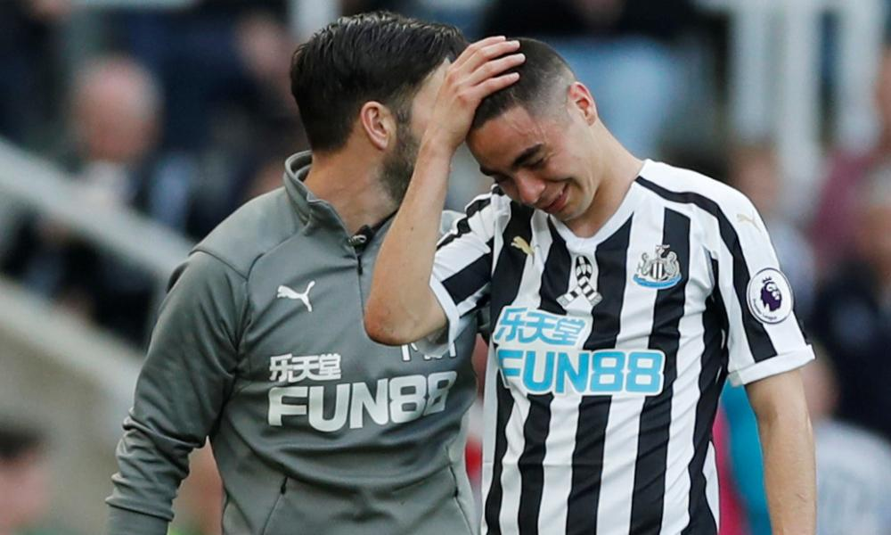 Newcastle United's Miguel Almiron reacts while being substituted after sustaining an injury.