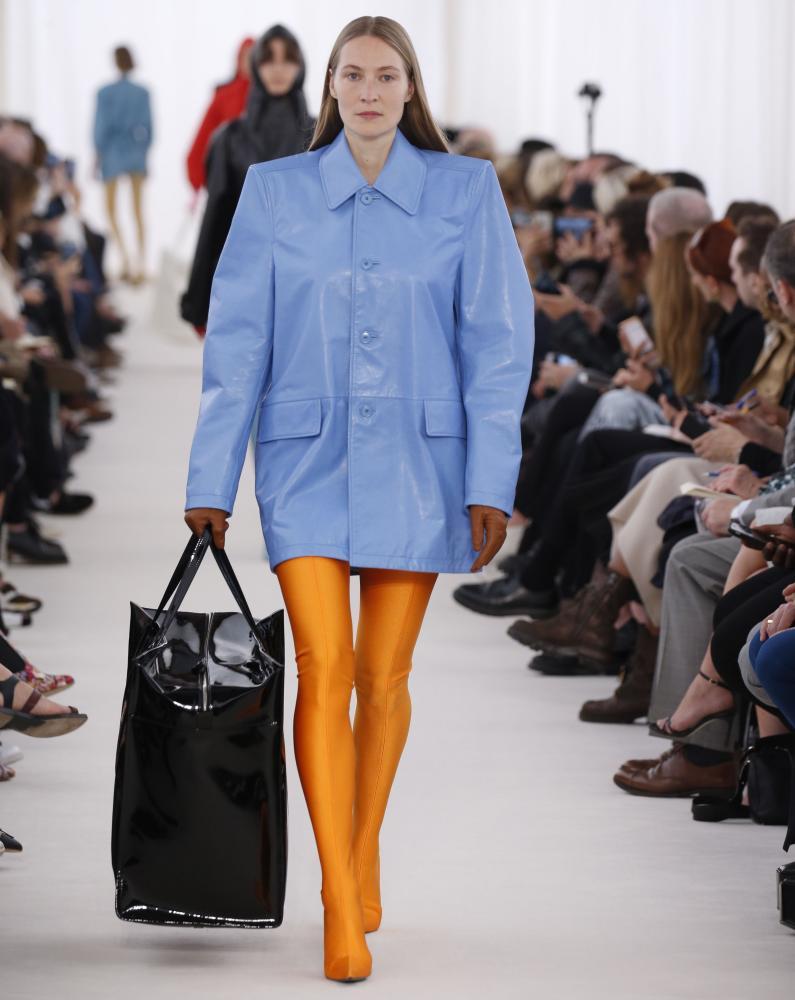 Women taking up more room: Balenciaga showcases the power shoulder.