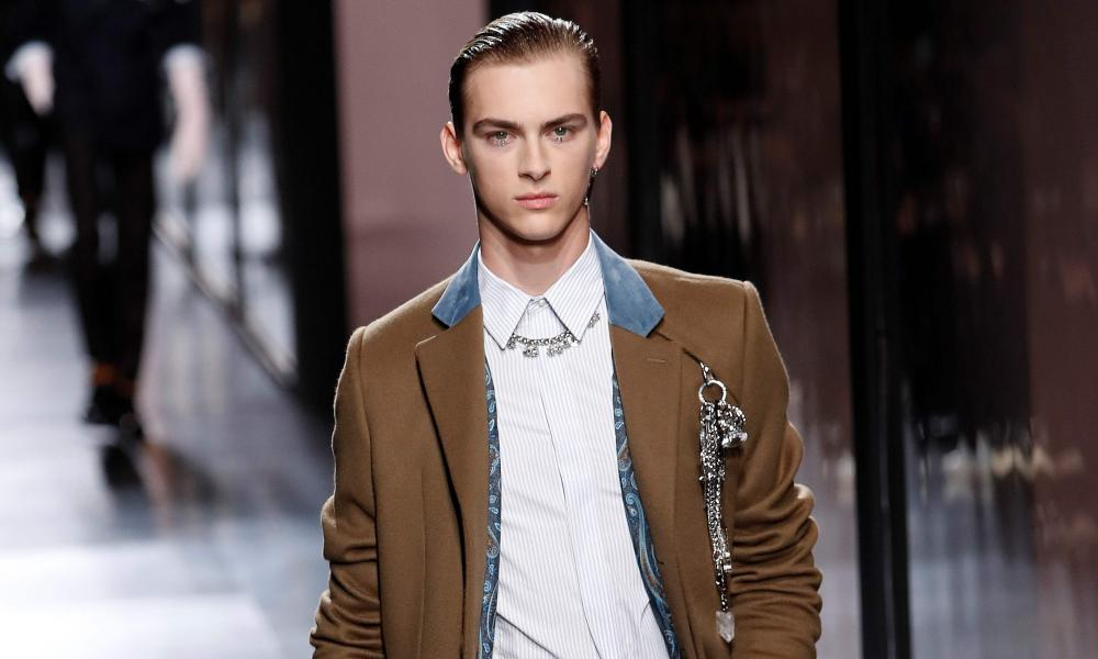 A model presents a creation for Dior Homme during the men's autumn-winter collection in Paris