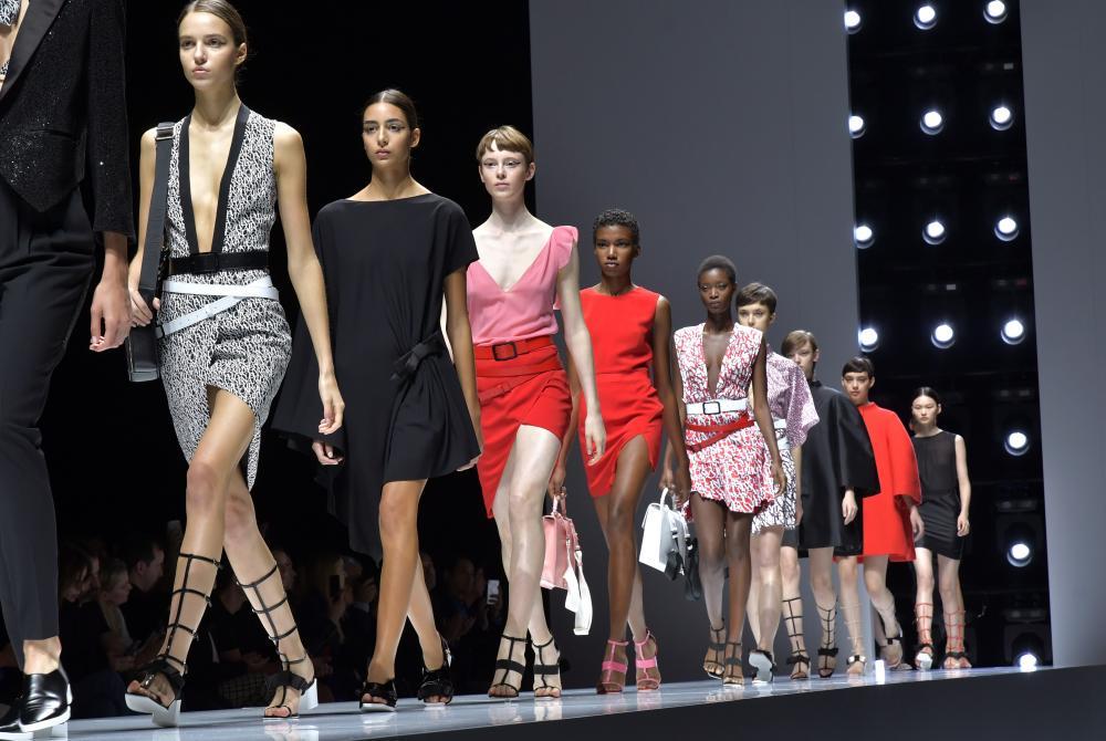 Models walk the catwalk at the Lanvin show.